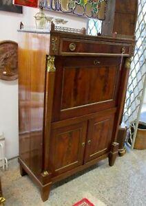 Details Zu Kleiner Sekretär Mahagoni Empire Bronze Frankreich Messing 1840 Schreibtisch