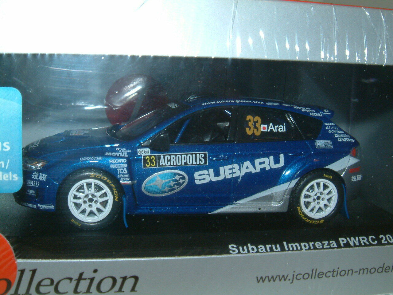 1 43 43 43 SUBARU IMPREZA PWRC 2009 ACROPOLIS RALLY  ARAI  J COLLECTION KYOSHO 092505