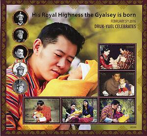 Bhutan 2016 MNH Birth HRH Gyalsey Royal Baby Druk Gyalpo 5v M/S Royalty Stamps