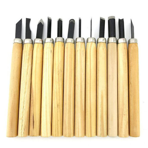 12 Pcs Woodworking Tools Professional Gouges Wood Carving Set Hand Chisel Kit SH
