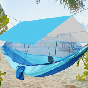 Portable Tent Camping Hammock Mosquito Net Rain Cover Windproof Waterproof Bed