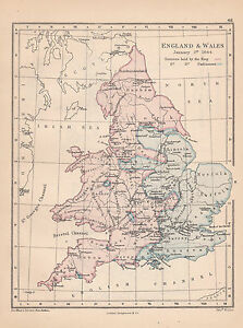 Map Of England Districts.Details About 1885 Victorian Historical Map England Wales January 1644 Districts