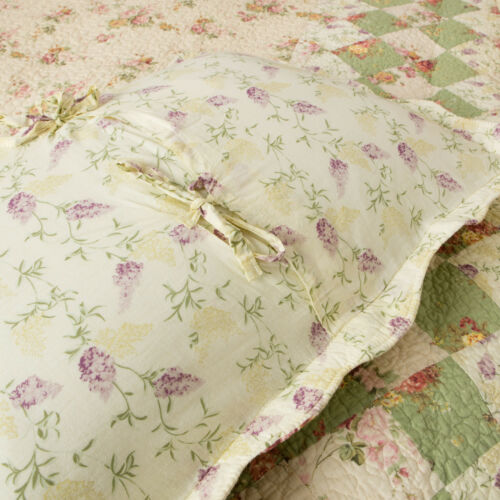 BLISS IVORY Full Queen QUILT SET VINTAGE LILAC GREEN COUNTRY ROSE COTTAGE