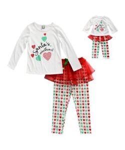 Girl 2-8 and Doll Matching Santa Christmas Tutu Pajamas ft Outfit ... eb4b179a4