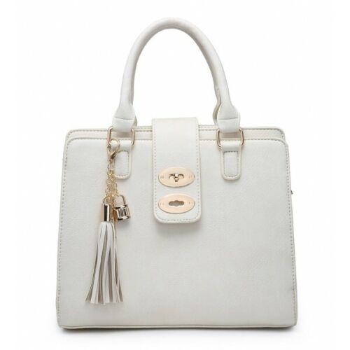 Women Ladies Multi Compartment Handbag Office Work Organiser Shoulder Bag Tassel