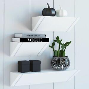 Modern Set Of 3 White Floating Shelves For Wall In Living Bedroom Bathroom M Ebay