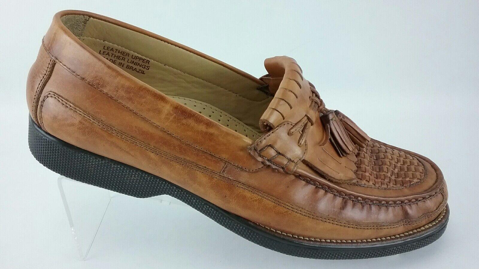 Florsheim Men's Tassel Kiltie Woven MocToe Size 11 D Tan Loafer shoes R3S3