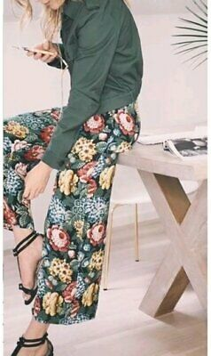 ZARA WOMAN CULOTTE WEIß ECRU BLUMENPRINT FLORAL MUSTER HOSE PANTS
