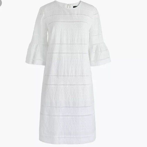 NWT JCREW  Flutter-sleeve shift dress in eyelet Size2 G1269 In White