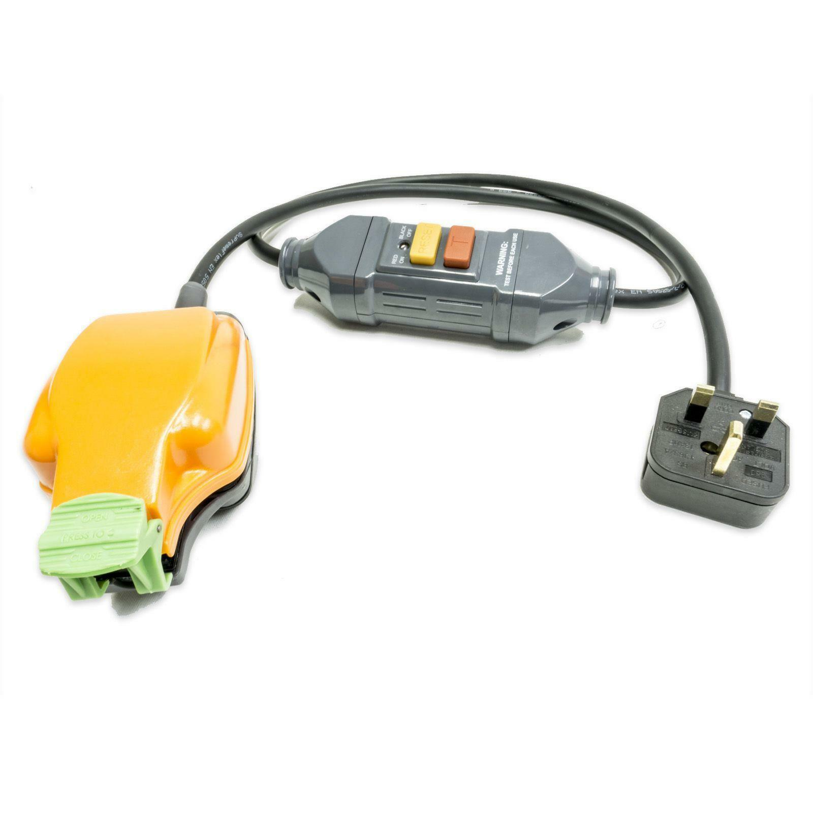 1m RCD Fly Lead 1 gang IP54 Socket. Safety Cable. H07RN-F Tough Rubber