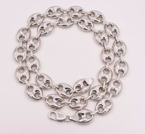 Gucci Link Chain For Sale Ebay >> 14mm Puffed Gucci Anchor Mariner Link Chain Necklace 14k White Gold