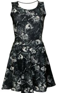 Gothic-Bones-Floral-Skulls-Hearts-Spider-Web-Wiccan-Cross-Vintage-Retro-Dress