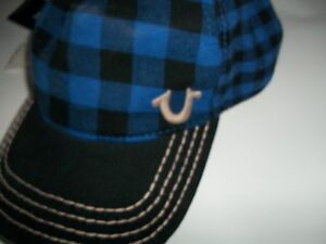 895a36db Image is loading TRUE-RELIGION-Blue-Buffalo-Check-HAT-Adjustable-Ball-