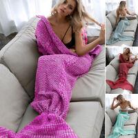 Mermaid Tail Sofa Blanket Super Soft Warm Hand Crocheted Knitting Wool Adult