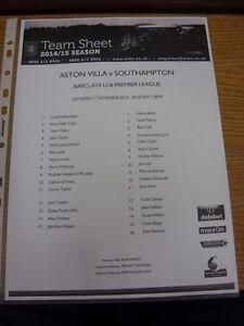 01-11-2014-Aston-Villa-Youth-v-Southampton-Youth-single-sheet-Thanks-for-vie