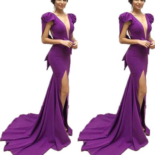 Damen V-Ausschnitt Abendkleid Ballkleid Hoch Schlitz Lang Maxikleider Partykleid