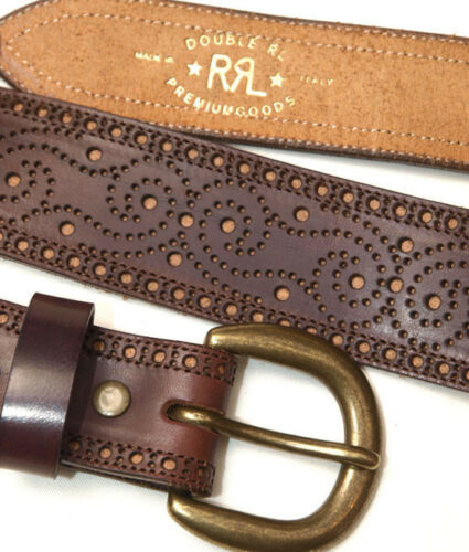 POLO RALPH LAUREN DOUBLE RL RRL CAUSNEY BROGUE BROWN LEATHER BELT ITALY $250+