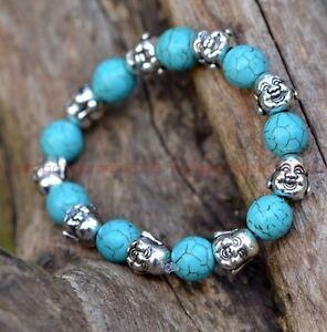 Original handmade Tibetan silver Buddha turquoise bead stretch bracelets