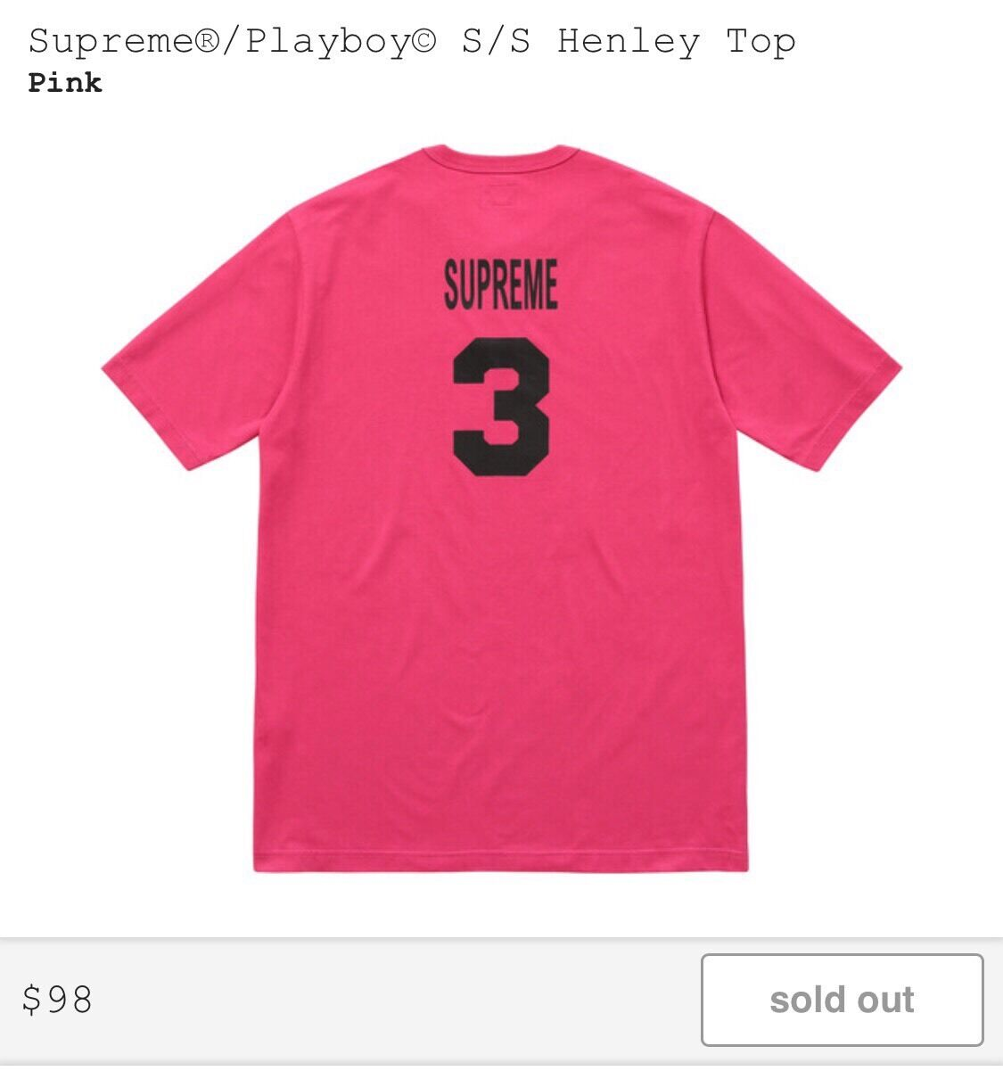 SUPREME PLAYBOY S S Henley Top Pink Size MEDIUM   CONFIRMED
