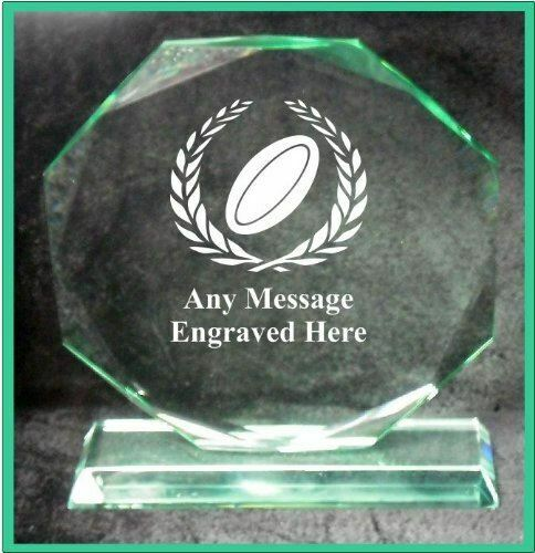 GLASS RUGBY 18CM OCTAGON AWARD TROPHY GA1042 ENGRAVED PERSONALISED