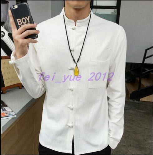 Chinese Mens Ethnic Long Sleeve Loose Stand Collar Linen Blend Shirts Size M-5XL