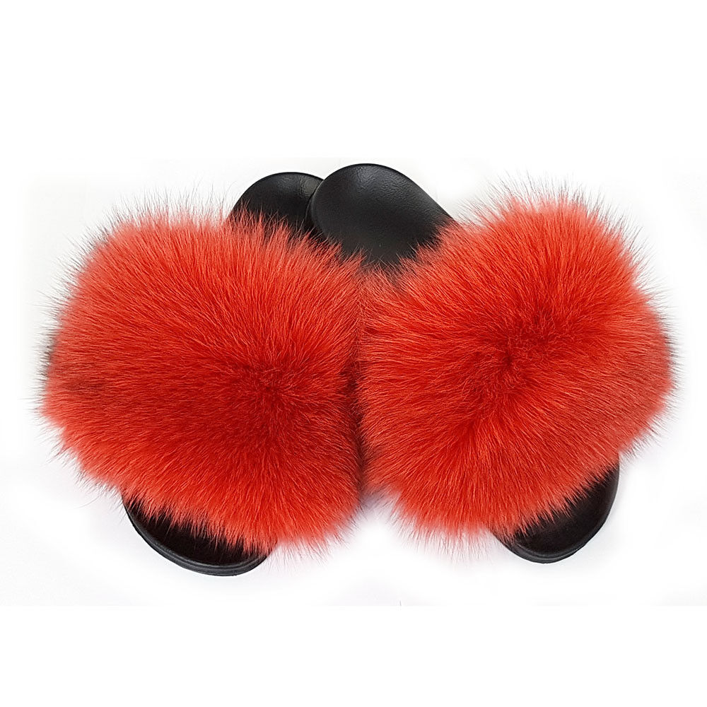 Genuine Red Fox Fur Slides NEW Slippers With Natural Fur Sandals With Real Fur