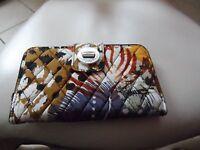 Vera Bradley Turnlock Wallet In Painted Feathers