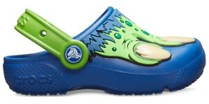 b16cb6143 Image is loading Crocs-FunLab-Creature-Kids-Clog-Blue-Jean