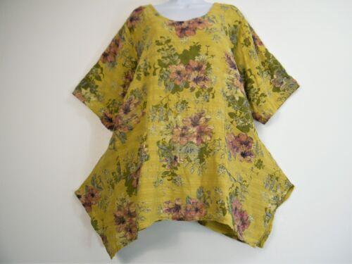 Lagen look 100/% Linen Short sleeve Summer Top Pockets 5 cols One size:Plus 16-20