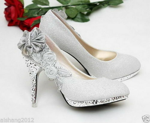 beautiful Silver Vogue lace Flowers Crystal High Heels Wedding Bridal Shoes
