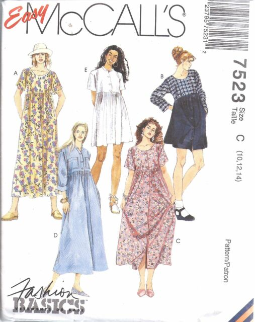 7523 Vintage McCalls SEWING Pattern Misses EASY Dress UNCUT Casual Spring Comfy