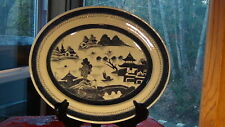 """EARLY 18C CHINESE BLUE AND WHITE PAINTED GLAZED STONEWARE PLATTER ,DISH 18""""L."""