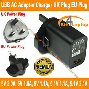 Power Supplies USB Mains Adaptor 5V1A 10W Fast Wall Charger UK Plug iPad iPhone