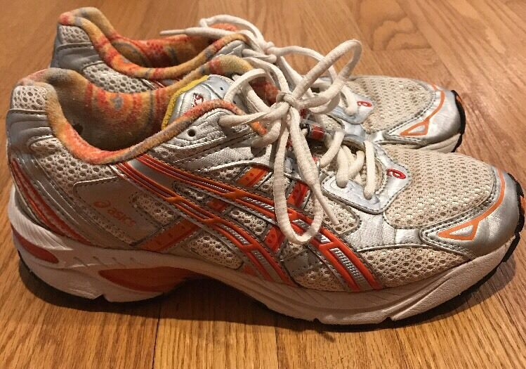 ASICS Gel DUOMAX orange Red Leather Running Train Athletic Womens shoes Sz 7.5