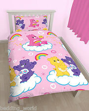 SINGLE BED CARE BEARS SHARE DUVET COVER SET TEDDY CLOUD RAINBOW HEART STAR PINK