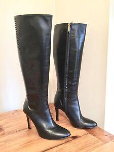 Knee Heel Leather 4 Uk Lk Black Boots Bennett High Size WnRgq7U