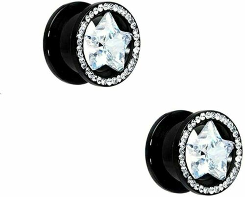 Details about  /Pair of Black Screw-Fit Ear Plugs with Clear Jewel Star