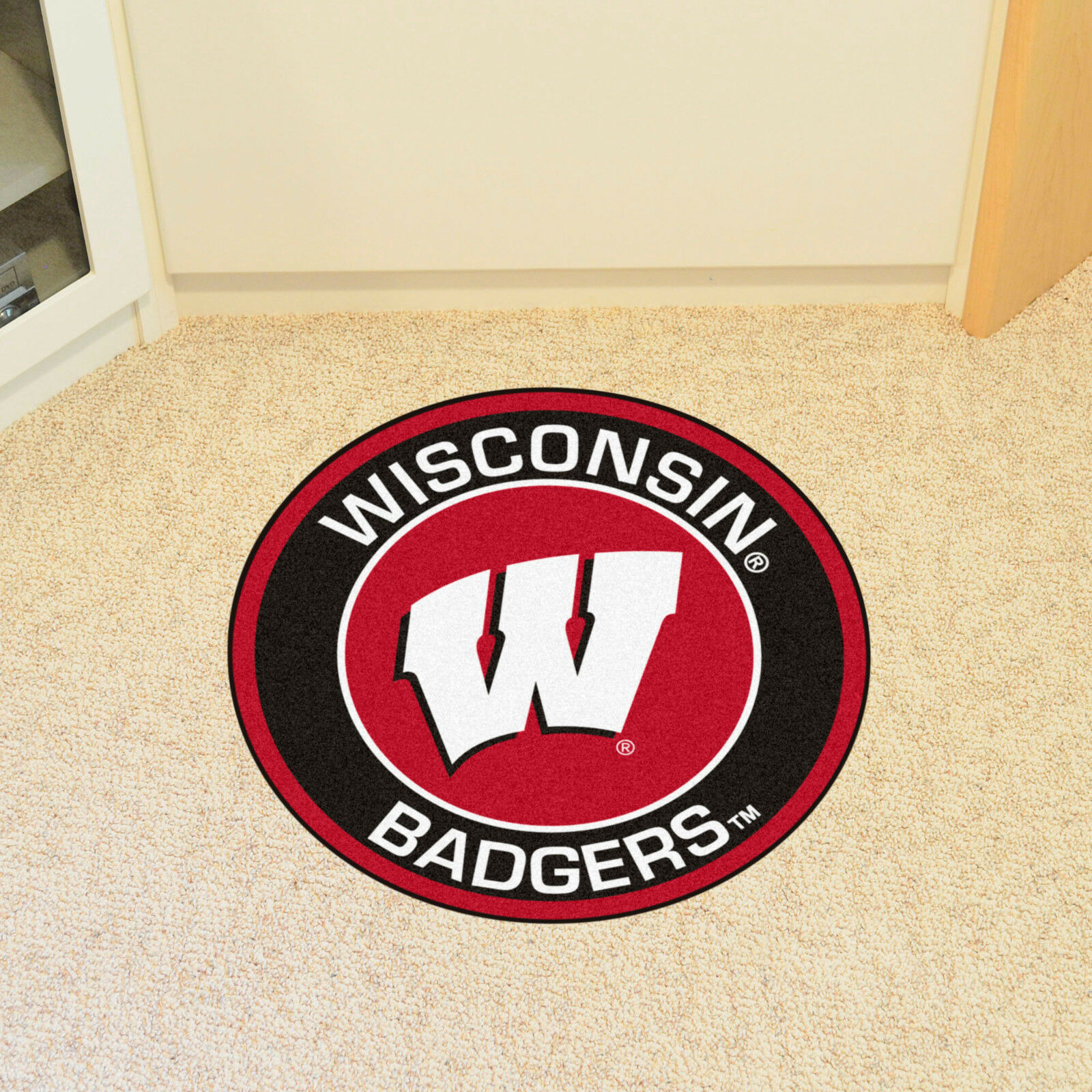 Wisconsin Badgers Round Roundel Floor Mat Man Cave Sports Carpet Rug