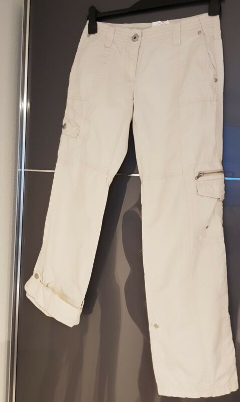 Neuwertige Damen Cargo Hosebeige Krempelhose Street One Jeans Gr. 34 Long