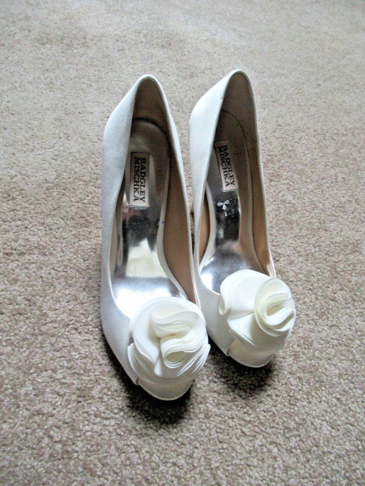 BADGLEY MISCKA vit Silk Stiletto klackar bröllop bröllop bröllop skor Sz 8  2 Floral Peep tå  outlet online butik
