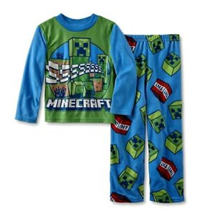 Mojang Boys Minecraft Fleece 2-Piece Pajama Set Blue Multi