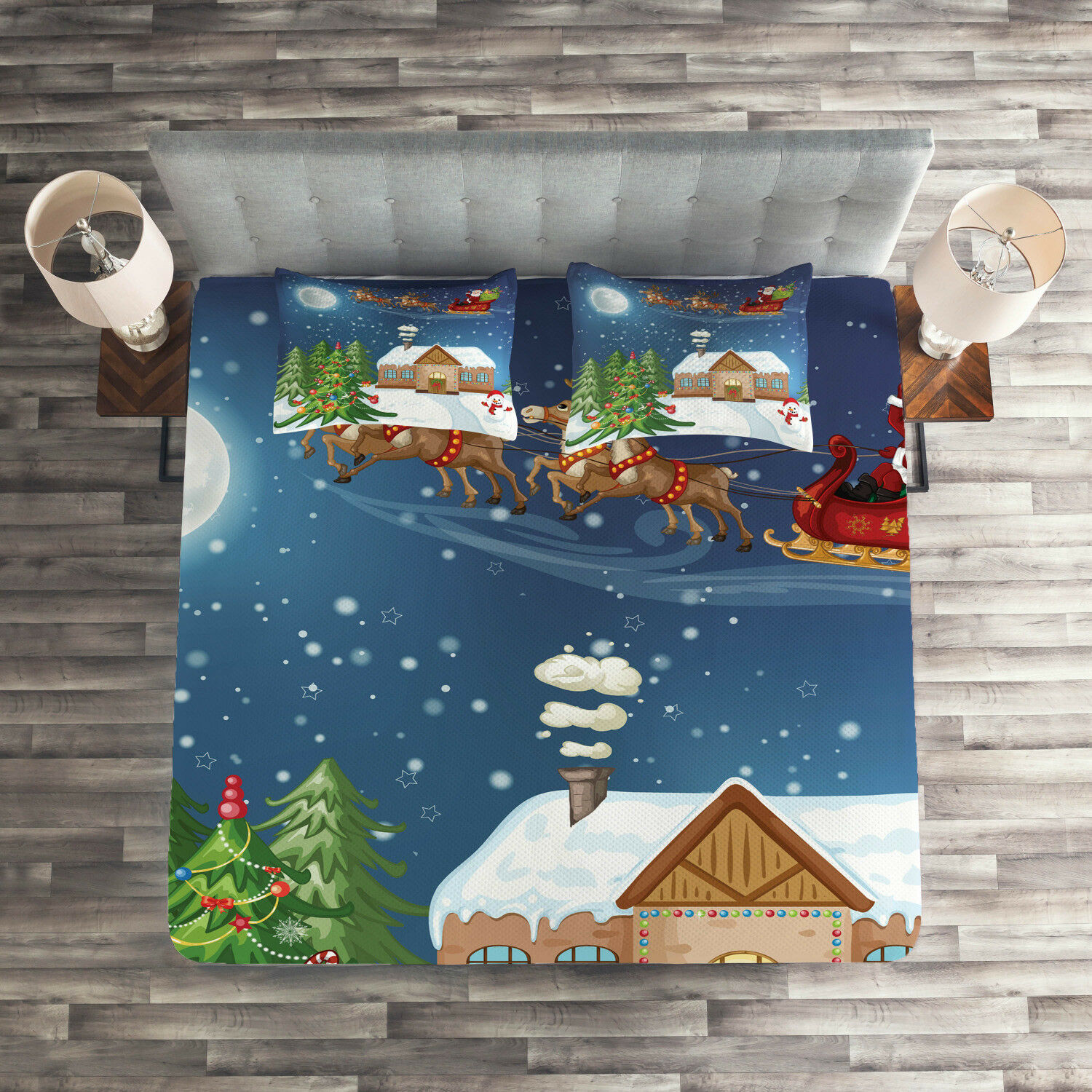 Christmas Quilted Coverlet & Pillow Shams Set, Santa with Rudolf Print