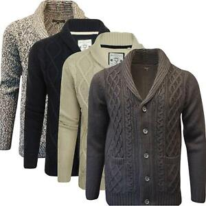 Details about Mens Ex Highstreet Button Up Cable Knit Cardigan Weave Chunky Jumper Shawl Neck