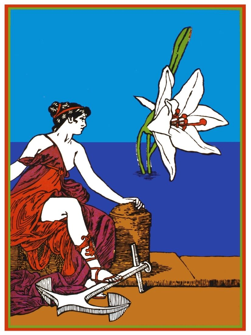 7198.Woman on pier looks at flower in ocean.foot on anvil.POSTER.art wall decor