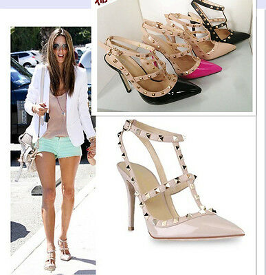 Womens Rivet Stilettos Ankle Strap High Heels Party Flats Pointed Shoes Sandals