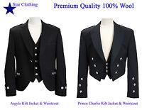 100% Wool Scottish Argyle /Prince Charlie kilt Jacket&Waistcoat (All Sizes)