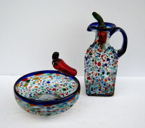 3 PIECE MEXICAN BLOWN GLASS PEPPER CRUET AND BOWL SET TEXTURED CONFETTI STYLE