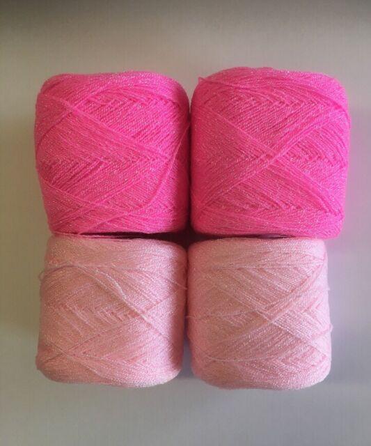 Lace yarn Crystal Colors 186 & 03 Acrylic/Rayon. 900 yards per ball. 1 lot of 4
