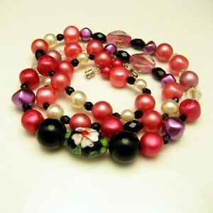 Vintage-Necklace-Mid-Century-Cloisonne-Crystal-Glass-Acrylic-Beads-Pink-Black