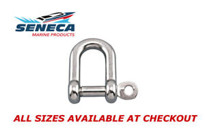 SENECA Marine Stainless Steel 316 STRAIGHT D Shackle w Captive Pin ALL SIZES